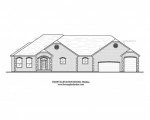 Custom Home house design blueprints - 2,624 sq. ft. with RV or boat garage