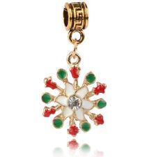 1PCS Christmas snowflakes Charm Pendant Beads fit European Silver Bracelet #A451