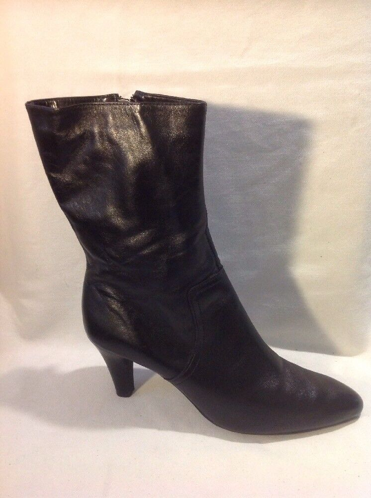Aerosoles Black Mid Calf Leather Boots Size 7