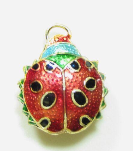 Cloisonne Ladybug Beetle Pendant Bead 20mm x 18mm x 8mm thick hole 4mm Lady Bug