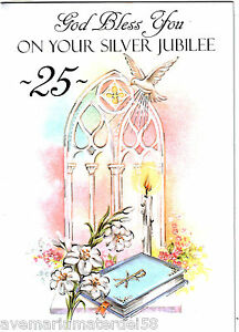 Catholic greeting card priest anniversary 25 year silver jubilee image is loading catholic greeting card priest anniversary 25 year silver m4hsunfo