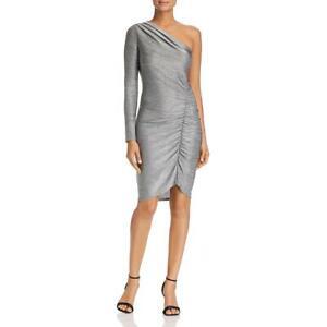 Three-Dots-Womens-Gold-Metallic-One-Shoulder-Above-Knee-Sheath-Dress-L-BHFO-6539