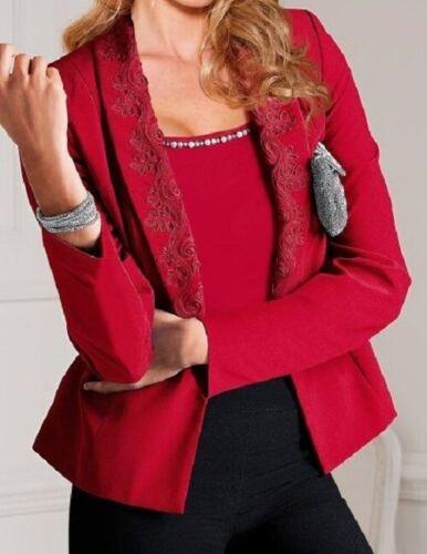 Blazer Jacke Damenblazer Anzugjacke Blusenjacke Anzug Viskose rot 36 46 48