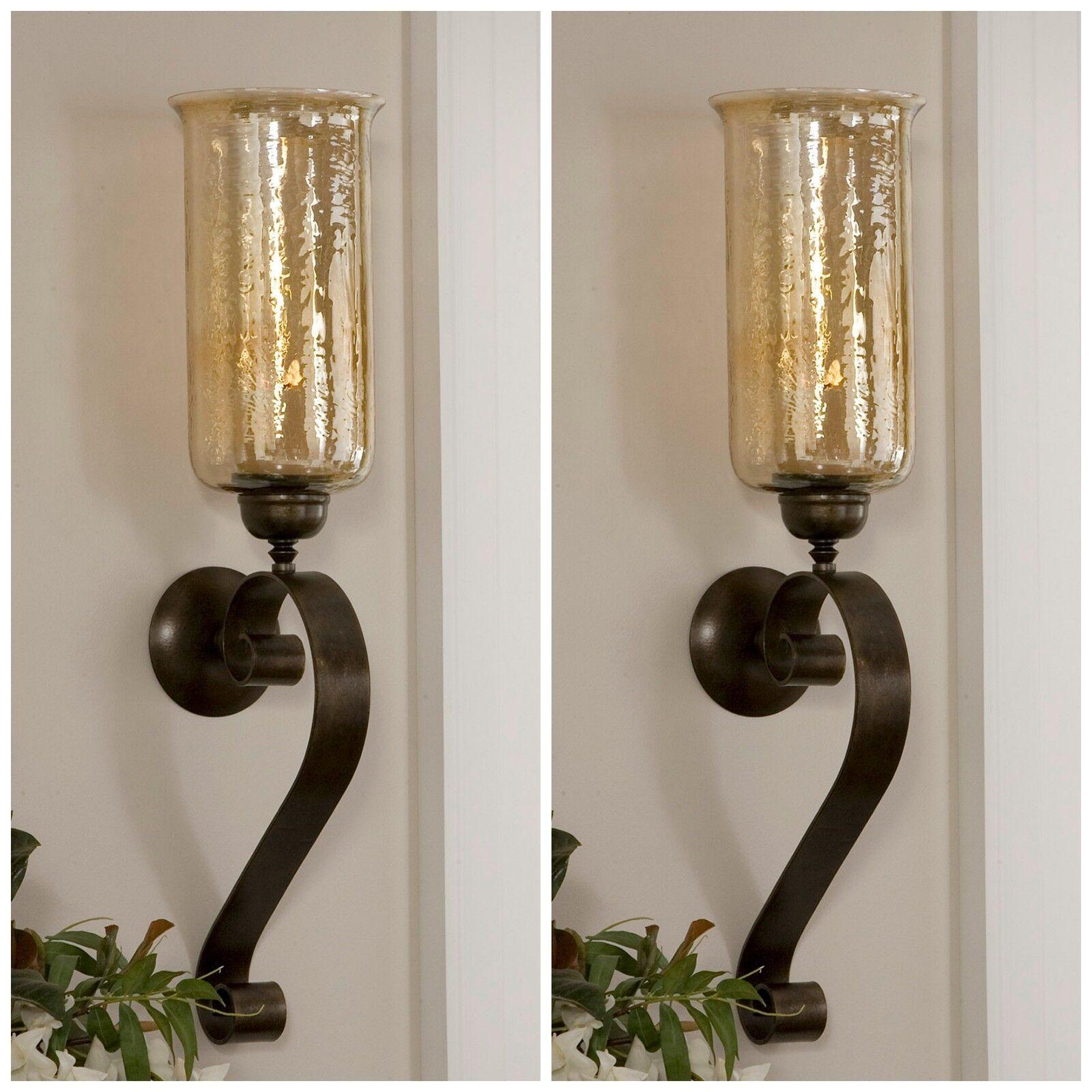 Par 30  bronce envejecido mano forjada de metal de Lámpara de Parojo de Cristal Luminaria sostenedores de vela