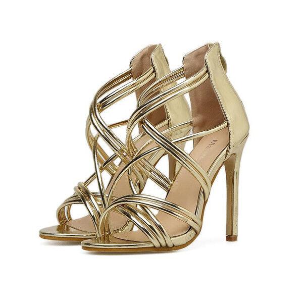 Sandali stiletto eleganti tacco   12 cm oro lucido  simil pelle eleganti 1019