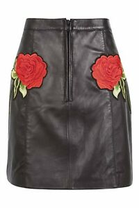 Rose Leather Skirt By Topshop Finds Size S Fits 8/36 - 10/38 US 4-6 RRP £95.00