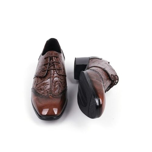 Men/'s leather wing tips open lacing wrinkle shape high-heels brown dress shoes