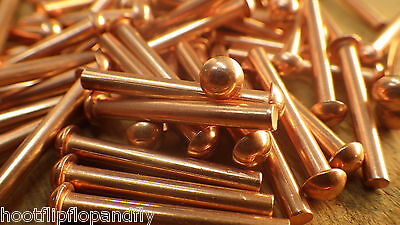 "SOLID BRASS 1//4/"" x 1/"" ROUND HEAD BRASS RIVETS RESTORATION STEAM VINTAGE VEHICLE"