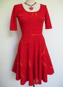 Lularoe Nicole Fit N Flare Dress Xxs Red W Orange