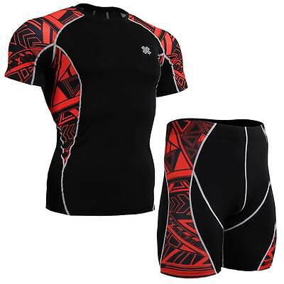 FIXGEAR C2S/P2-B2 SET Compression Shirt & Shorts Skin Tights MMA Fitness Workout