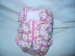 Female Dog Puppy Pet Diaper Washable Pants Sanitary Underwear PINK DAISIES XXS