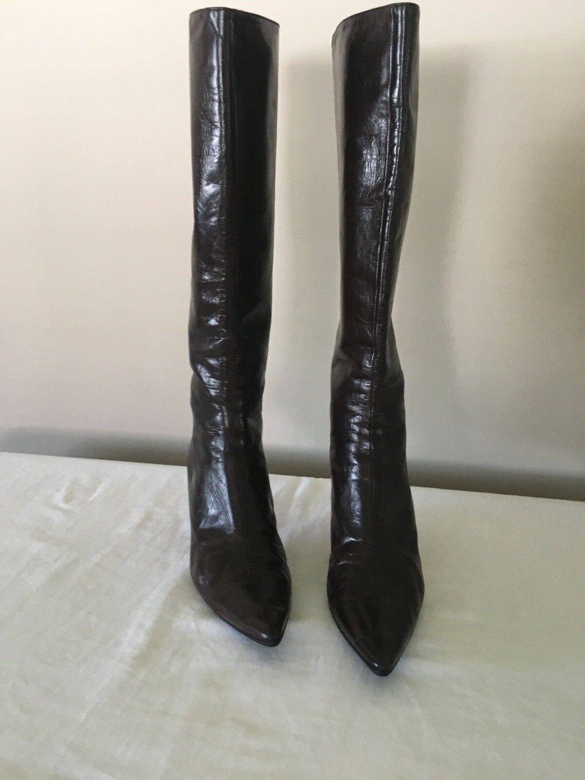 JIMMY CHOO braun LEATHER KNEE HIGH Stiefel SZ 38