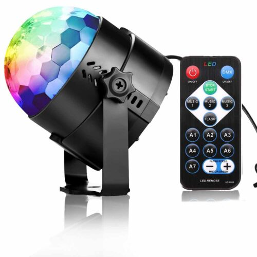 1 of 1 - USB RGB LED Disco Ball DJ Party Light Effect Remote Sound Activated Strobe Gift