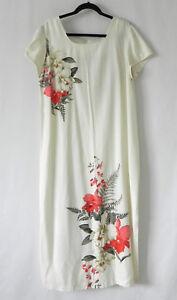 5e0e6f7ec507b Iolani Made in Hawaii Maxi Dress Cap Sleeve Ivory Rayon Floral Size ...