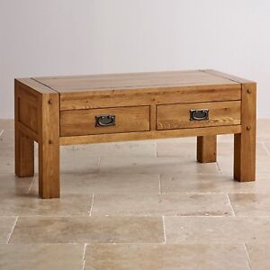 quercus rustic solid oak 4 drawer storage coffee table brand new