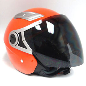 NEW 1STORM MOTORCYCLE SCOOTER BIKE OPEN FACE 3/4 HELMET DUAL VISOR GLOSSY RED