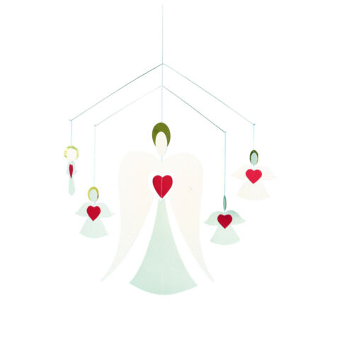 Flensted Angel Family Hearts Holiday Holiday Christmas Hanging Mobile Decor