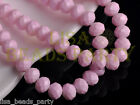 New 50pcs 8mm Faceted Rondelle Loose Crystal Glass Paint Beads Charms Light Pink