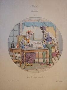 RARE-Litho-CARICATURE-PIGAL-MEDAILLES-ou-CONTRASTES-RESTAURATION-SEDUCTION-1829