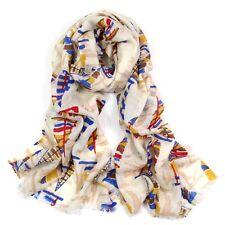 100% Pure Wool Woman's Pashmina Scarf Soft Wrap Stole Blue Sailing Boat Print