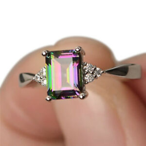Rainbow-Topaz-Engagement-Wedding-Band-Ring-Crystal-Silver-Plated-Ring-JDUK