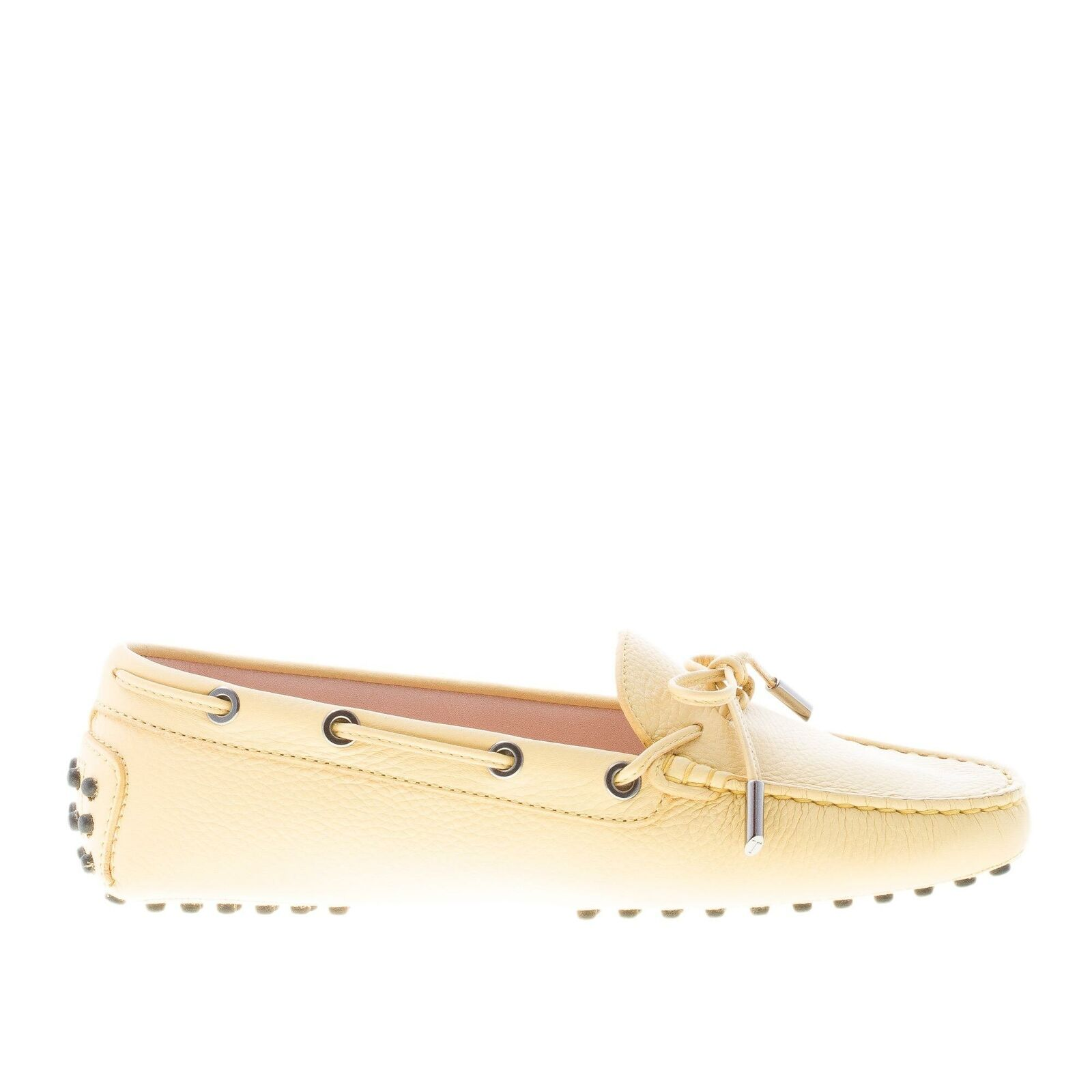 TOD'S TOD'S TOD'S damen schuhe shoes yellow hammered leder tie front gommino mokassins 662020