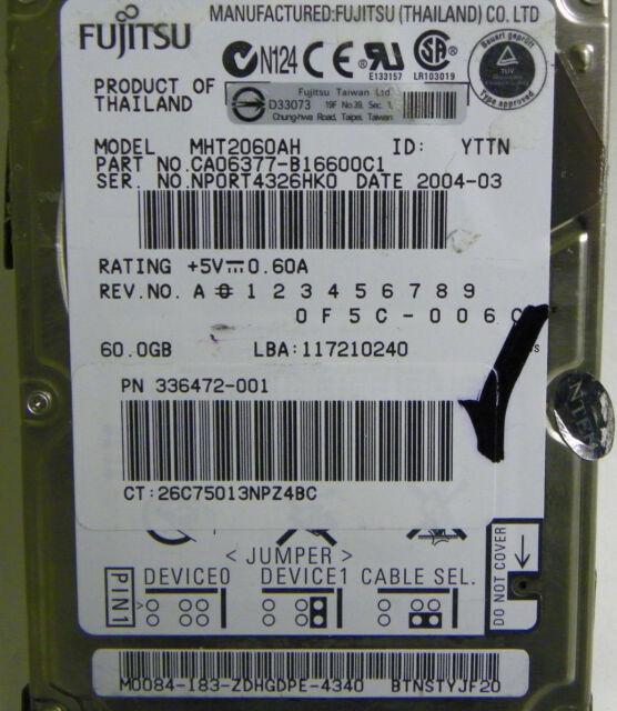 60GB Fujitsu MHT2060AH Laptop IDE Hard Drive P/N CA066377-B16600C1