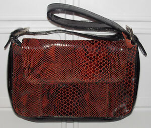 Image Is Loading M C Marc Chantal Brown Leather Purse Handbag Croc