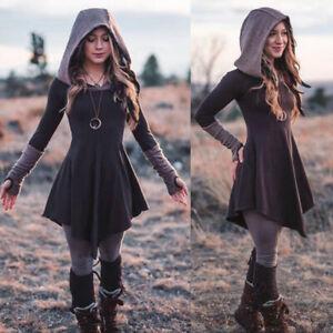 Women-Medieval-Renaissance-Gothic-Dress-Women-Vintage-Hooded-Costume-Clothing-B
