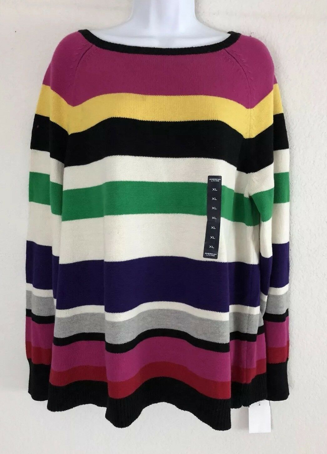 American Living Women's Sweater Sz XL Multi Pink Green Yellow Purple LS NEW A35