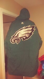 check out 8ac5d 997da Details about Philadelphia Eagles Throwback Sideline Trench Coat Starter  Jacket XL! Rare