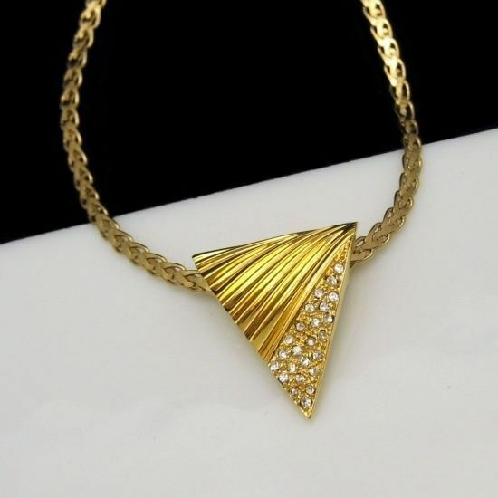 Triangle Rhinestone Pendant Necklace Trifari Chain Vintage Fancy Gold Plated