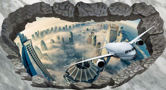 3D Airplane City Sky 78 Floor WallPaper Murals Wall Wall Wall Print Decal AJ WALLPAPER US ac8b06