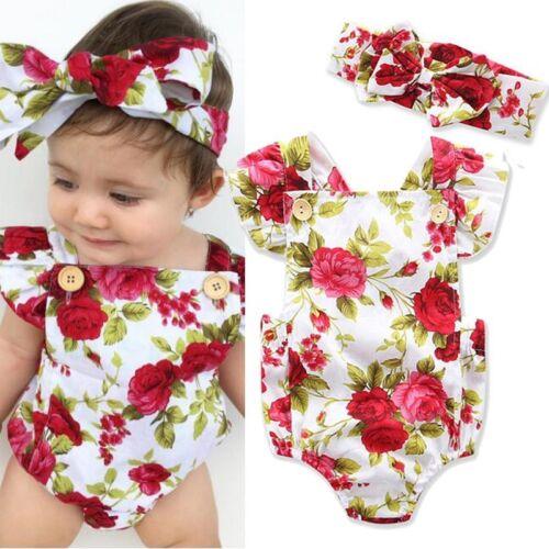 Infant Baby Girl Floral Romper Jumpsuit Bodysuit Outfit Headband Clothes Sunsuit