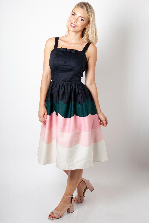 228b146adb645 VOODOO VIXEN Sally scallop print dress SS19 DRA8676 border Vintage ...