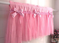 Item 8 Romatic Pink Lace Grid Cotton Bowknot Cafe Curtain Door Kitchen