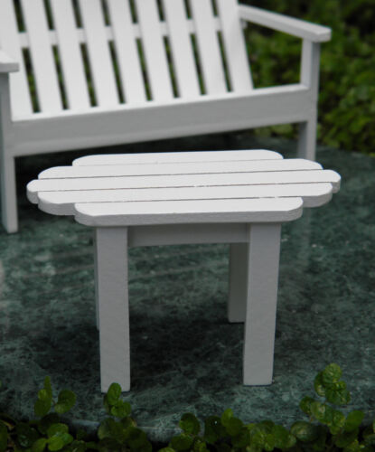 Miniature Dollhouse FAIRY GARDEN Furniture ~ White Wood Adirondack Table  ~ NEW
