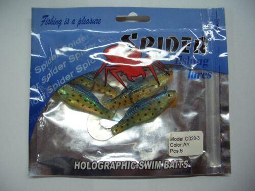 8 cm C028-3-AY 6 Stück mit Bleikopf Spider Holographic Gummifische
