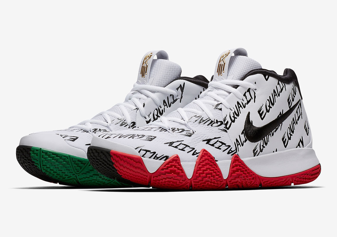 Nike Kyrie 4 BHM Equality Size 10. AQ9231-900. White Black Red Green.