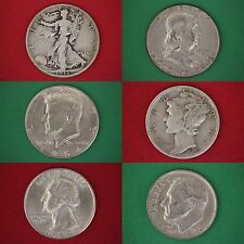 MAKE OFFER $10.00 Face 90% Silver Mixed Junk Coins 10 Half Dollars Included
