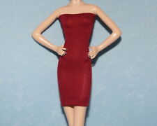 BURGUNDY Wine Red UNIQUE Sexy Party Dress for BARBIE Model Muse Silkstone