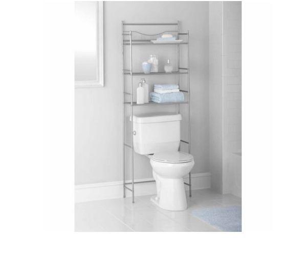 mainstays 3shelf bathroom toilet storage space saver satin nickel finish rack ebay. Black Bedroom Furniture Sets. Home Design Ideas