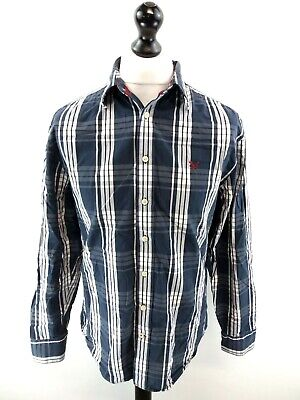 EntrüCkung Crew Clothing Mens Shirt M Medium Blue White Grey Check Cotton Tailored Fit