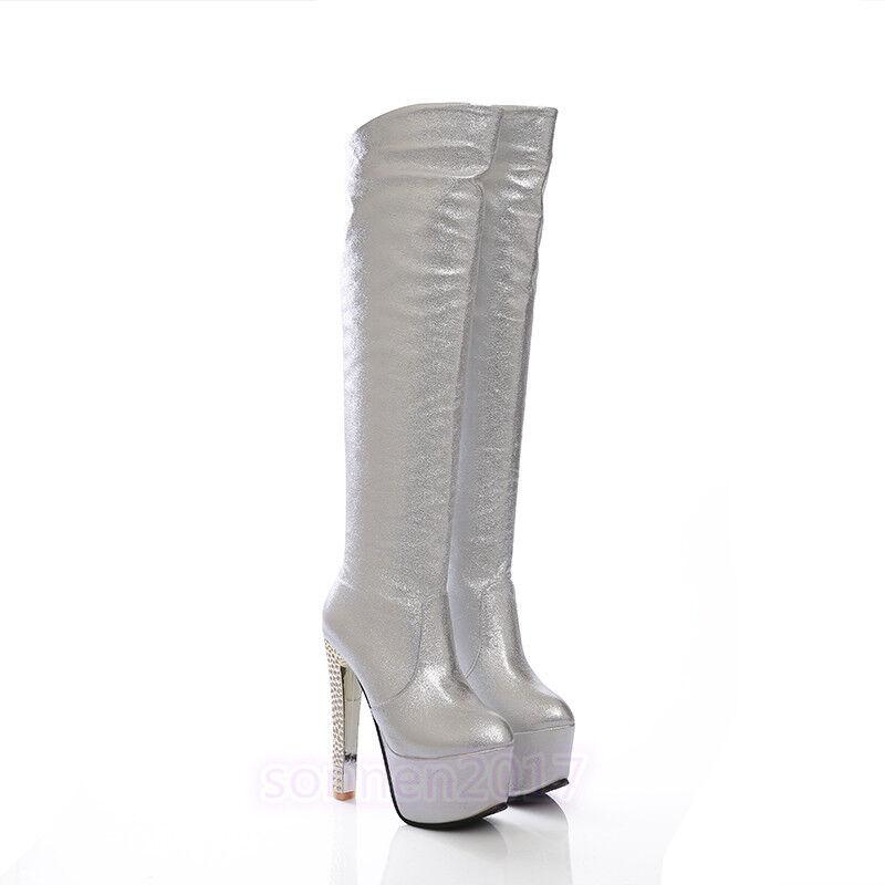 Damen Stiefel Schuhe Stiletto Kniehoch Gr.33-40 Platfrom Sehr hoher Abendclub Gr.33-40 Kniehoch cb7acb