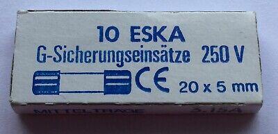 NEU 20x5mm 10 ESKA G-Sicherungseinsätze  250V DIN 41571 3.15A mittelträge