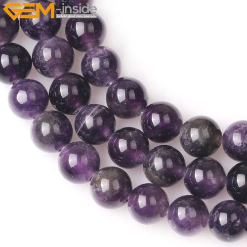 """Piedras Preciosas Naturales Amatista púrpura redonda granos flojos joyería haciendo agujero grande 15/"""""""