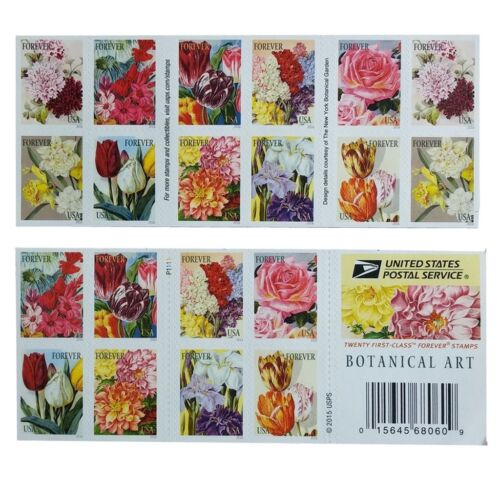 20 Stamp Botanical Art Forever First Class Postage Stamps Beautiful Flower Bloom