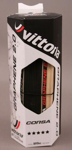 Vittoria Corsa G Competition 700 x 25 Black Natural Tan 320 TPI Road Bike Tire