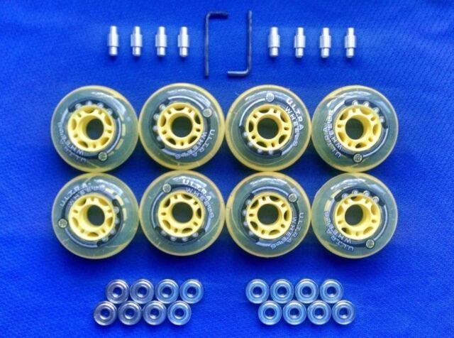 NEW! Outdoor Rollerblade Inline Hockey Fitness Skate Wheels 76mm 82A + Bearings