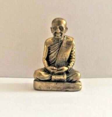 MONK  MEDITATION THAI AMULET 15G MINI ASIAN ANTIQUE BRASS BUDDHA